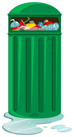 rubbish bin: Rubbish bin full of trash illustration Illustration