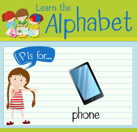 p illustration: Flashcard letter P is for phone illustration Illustration