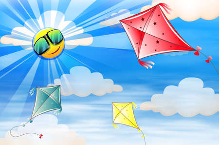 Kites flying in the sky illustration
