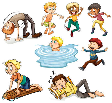 multiple: People doing different activities illustration