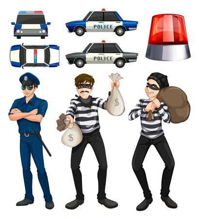 Policeman and robbers set illustration 向量圖像