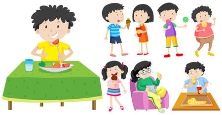 children eating: Children eating healthy and unhealthy food illustration