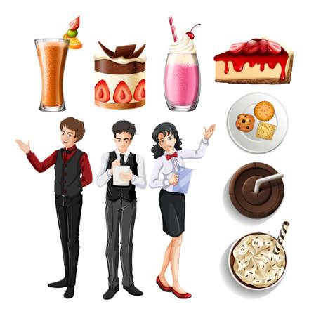 People working in restaurant and different desserts and drinks illustration Illustration