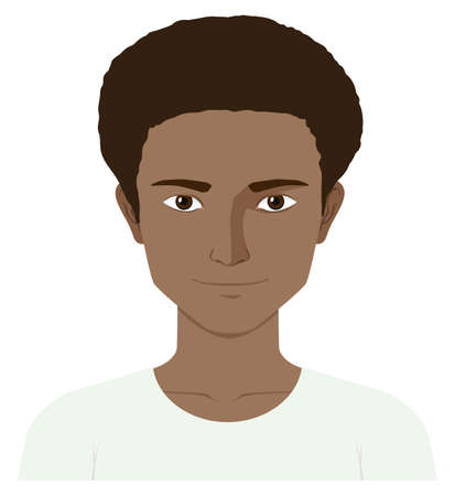 skin color: Man with dark color skin illustration