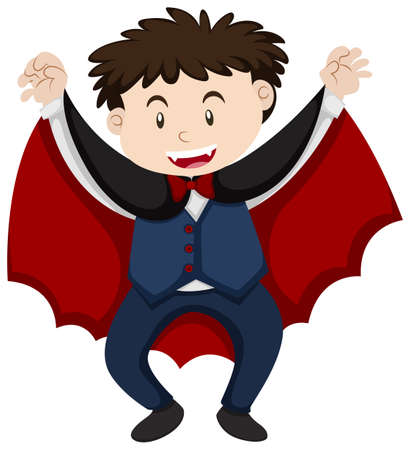 Boy in vampire outfit illustration