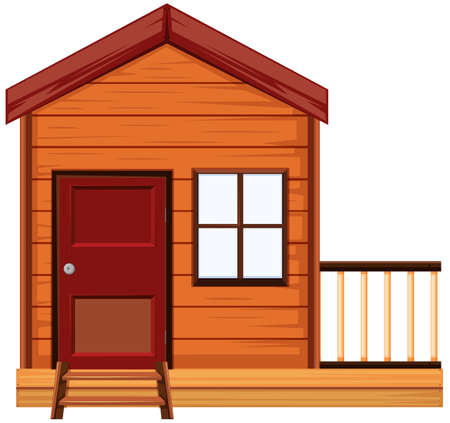 Wooden house with one door and one window illustration