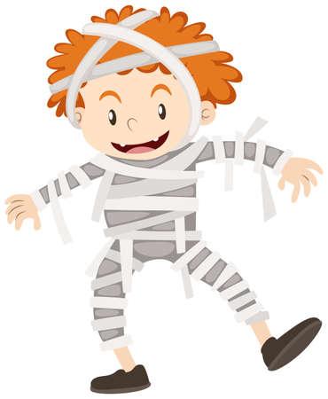 Little boy in mummy outfit illustration Illustration