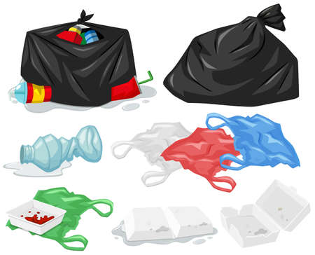 Different types of trash and trashbags illustration Illustration