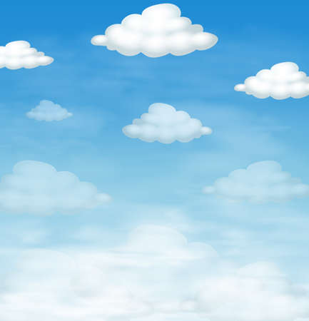 Blue sky and fluffly clouds as background illustration
