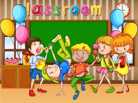 Classroom scene with kids having party illustration Illustration