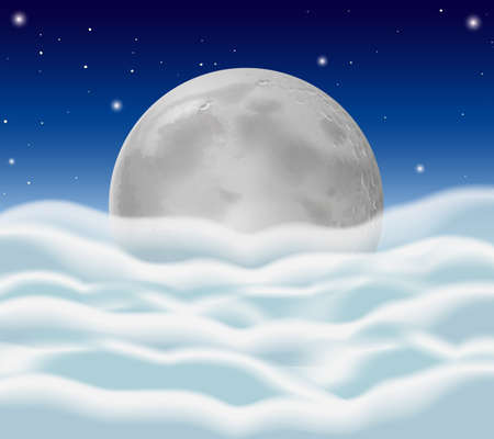 Fullmoon and fluffy clouds as background illustration Illustration