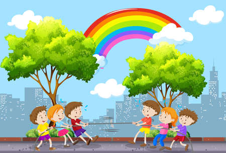 Children playing tug of war in the park illustration