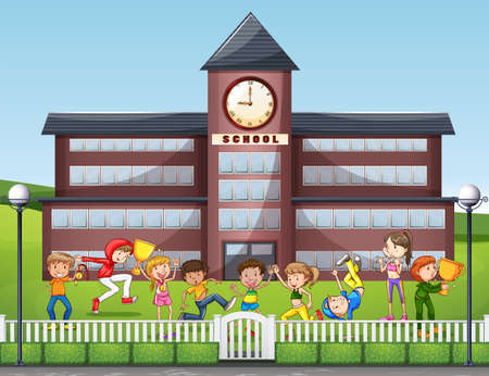 school: Many children playing at school illustration