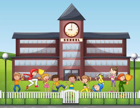 Many children playing at school illustration