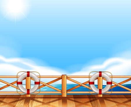 Background design with ocean and deck illustration
