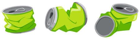 aluminum: Green aluminum cans on the floor illustration