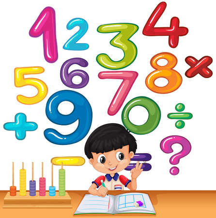 Boy counting numbers on the desk illustration