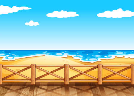 Beach scene with wooden bridge illustration Ilustração Vetorial