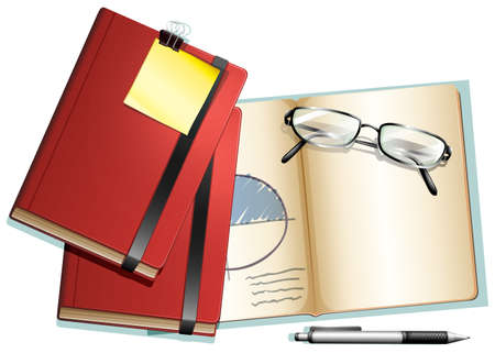 notebook: Books and eyeglasses on it illustration Illustration