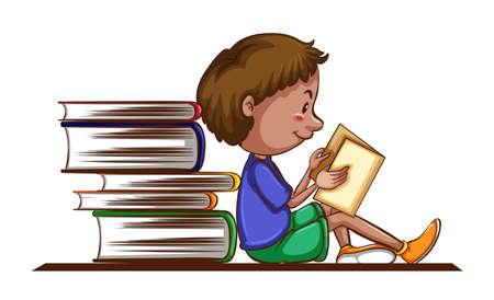 child drawing: Boy reading book on white background illustration Illustration