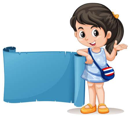 Thai girl with blue banner illustration