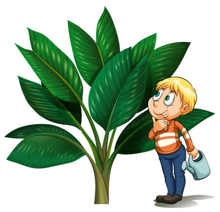 Man with watering can looking at the tree illustration