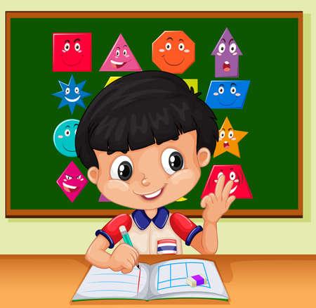 infancia: la escritura del niño pequeño en la ilustración portátil