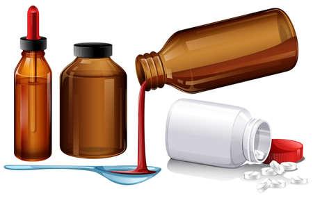 medicina y tabletas Liquid ilustración Ilustración de vector