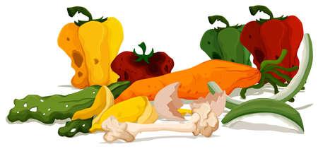 food waste: Pile of rotten food illustration Illustration