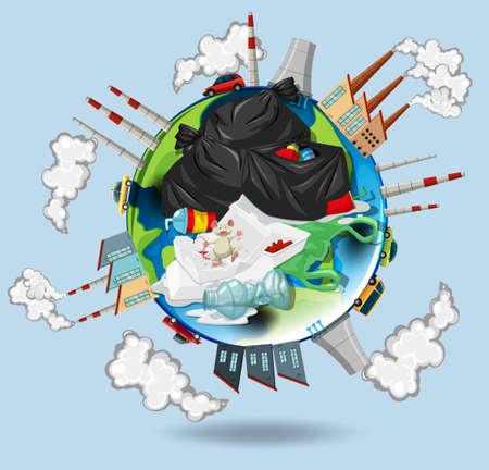 Mondo pieno di inquinamenti e illustrazione spazzatura