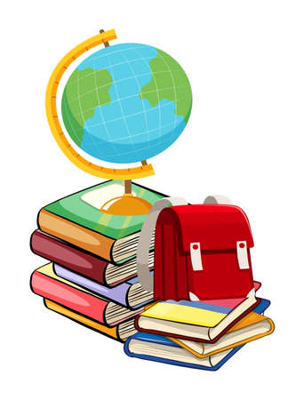 rucksack: Books and schoolbags on white background illustration Illustration