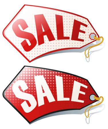 sale tag: Label design with sale tag illustration Illustration