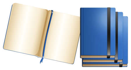 note paper: Blue notebooks in different sizes illustration Illustration