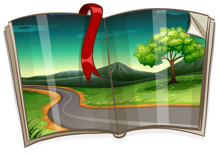 Book with road to the countryside illustration