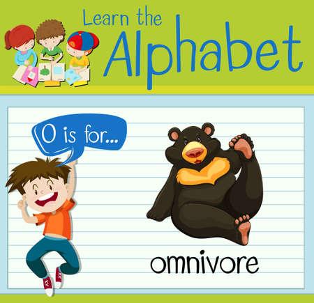 omnivore: Flashcard letter O is for omnivore illustration Illustration