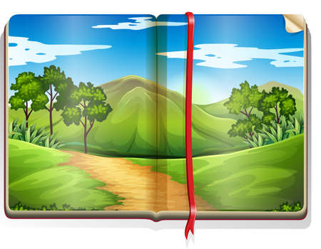 Book with mountain and forest scene illustration Vectores