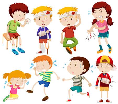 Diferentes niños estar enfermo y conseguir la ilustración herido