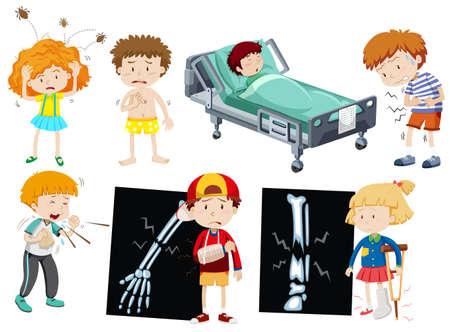 Children with different sickness illustration