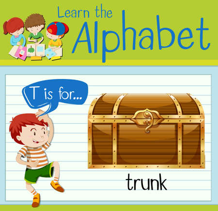 antique sleigh: Flashcard letter T is for trunk illustration