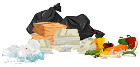 food waste: Pile of trash with papers and rotten food illustration