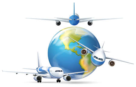 engine: Airplanes flying around the planet earth illustration Illustration