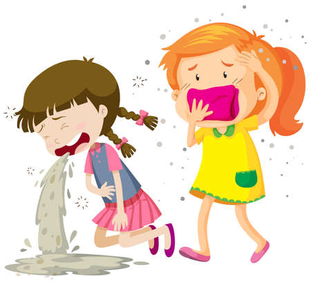 stomache: Two girls being sick illustration Illustration