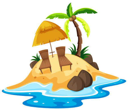 destination: Scene with seats on the island illustration