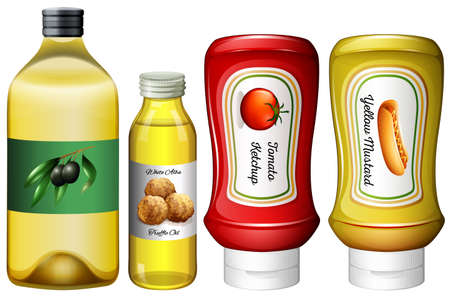 mustard: Different types of sauces and oil illustration