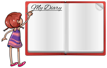 diary: Girl writing in diary illustration