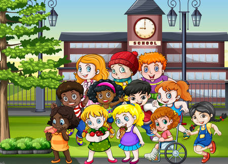 Students in the school ground illustration