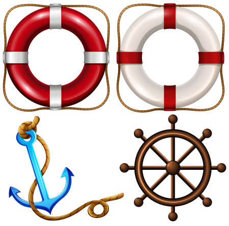 Marine symbol with safety rings and anchor illustration Illustration