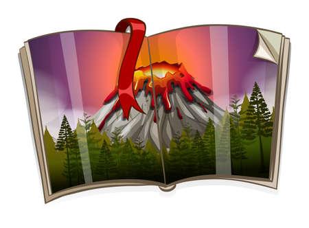 storybook: Book with volcano scene illustration Illustration