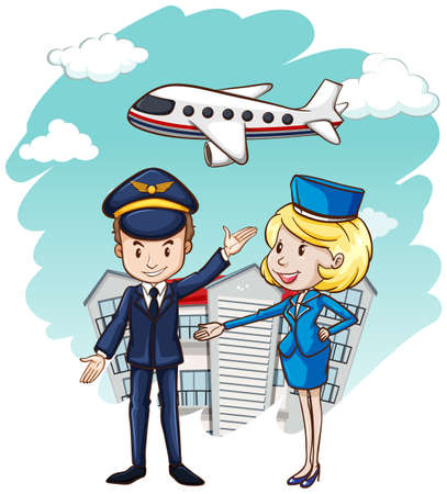 Pilot and flight attendant with airplane in background illustration