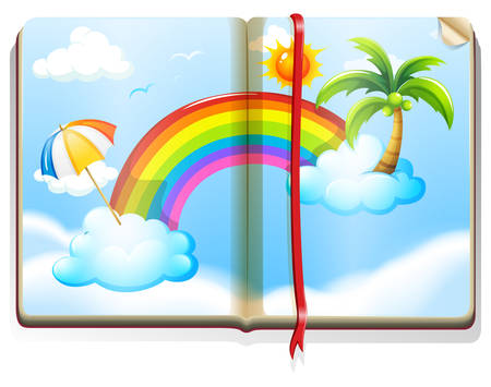 storybook: Book with rainbow in the sky illustration